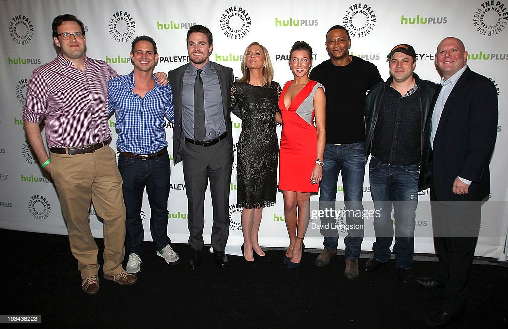 Executive producers Andrew Kreisberg and Greg Berlanti, actors Stephen Amell, Susanna Thompson, Katie Cassidy and David Ramsey, comic book writer Geoff Johns and executive producer Marc Guggenheim attend The Paley Center For Media's PaleyFest 2013 honoring 'Arrow' at the Saban Theatre on March 9, 2013 in Beverly Hills, California.