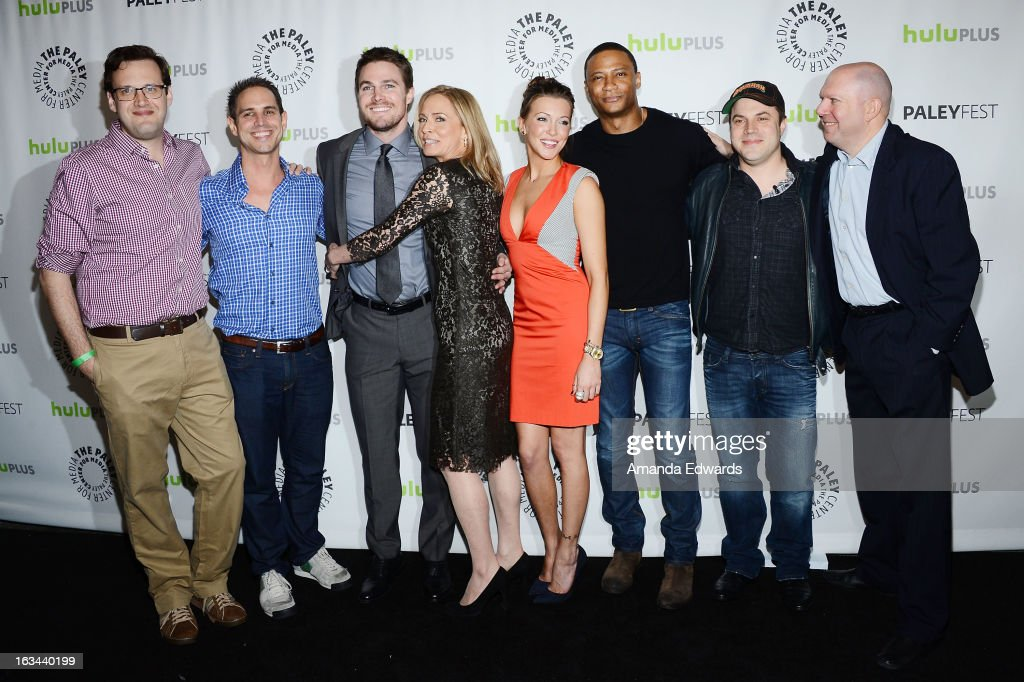 Executive producers Andrew Kreisberg and Greg Berlanti, actors Stephen Amell, Susanna Thompson, Katie Cassidy and David Ramsey, comic book writer Geoff Johns and executive producer Marc Guggenheim arrive at the 30th Annual PaleyFest: The William S. Paley Television Festival featuring 'Arrow' at the Saban Theatre on March 9, 2013 in Beverly Hills, California.