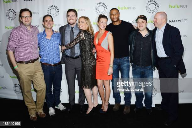 Executive producers Andrew Kreisberg and Greg Berlanti actors Stephen Amell Susanna Thompson Katie Cassidy and David Ramsey comic book writer Geoff...