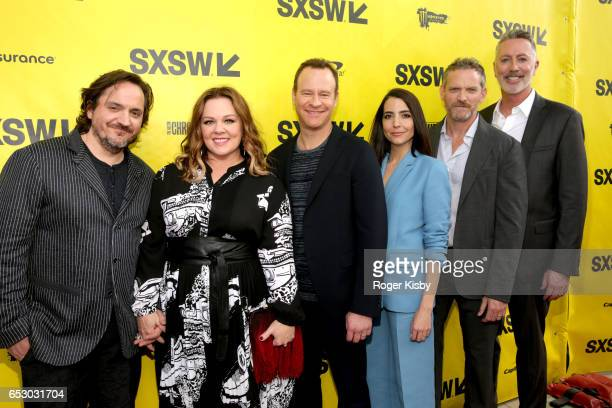 Executive producers Ben Falcone and Melissa McCarthy along with cast members/executive producers Larry Dorf Rachel Ramras Hugh Davidson and...