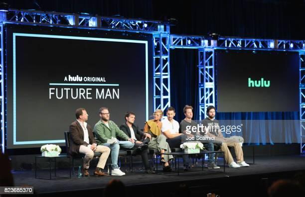 Executive producers Ben Karlin and Seth Rogen actors Josh Hutcherson Eliza Coupe and Derek Wilson and executive producers Kyle Hunter and Ariel...