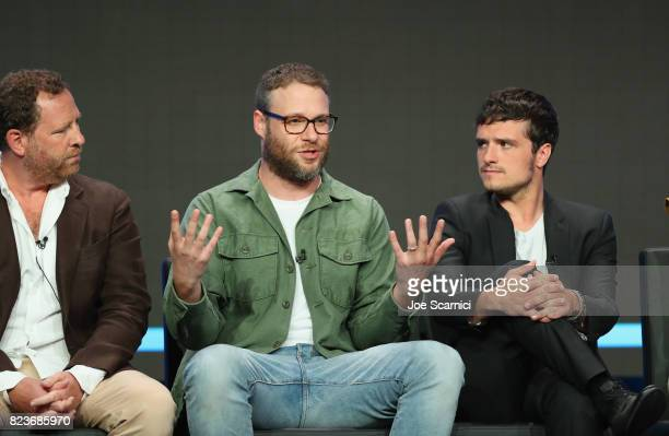 Executive producers Ben Karlin and Seth Rogen and actor Josh Hutcherson speak onstage during Summer TCA at The Beverly Hilton Hotel on July 27 2017...