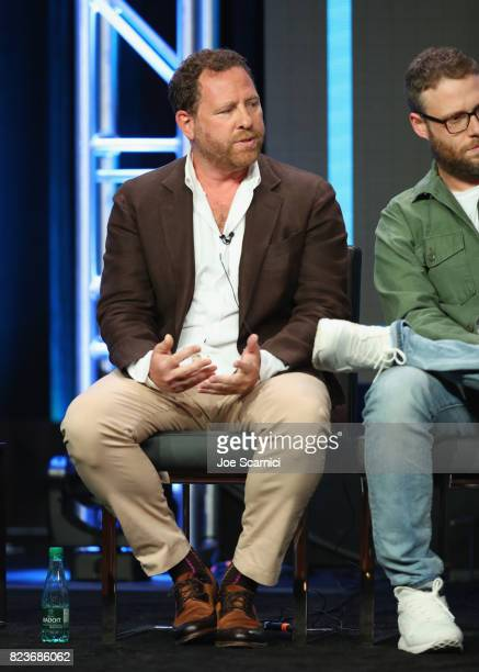 Executive producers Ben Karlin and Seth Rogen speak onstage during Summer TCA at The Beverly Hilton Hotel on July 27 2017 in Beverly Hills California