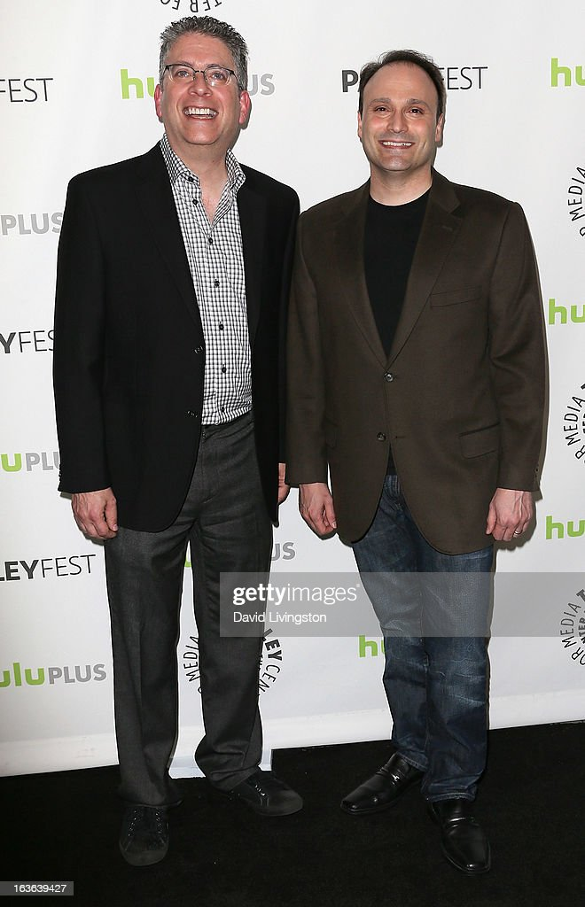Executive producers Bill Prady (L) and Steven Molaro attend The Paley Center For Media's PaleyFest 2013 honoring 'The Big Bang Theory' at the Saban Theatre on March 13, 2013 in Beverly Hills, California.