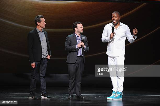EMPIRE Executive Producers Brian Grazer Danny Strong and Lee Daniels speak onstage during the FOX 2015 PROGRAMMING PRESENTATION announcing FOX's new...