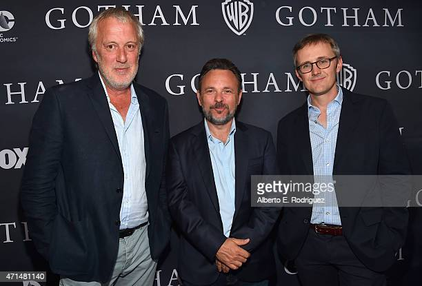 Executive producers Bruno Heller Danny Cannon and John Stephens attend Fox's 'Gotham' Season Finale Screening at Landmark Theatre on April 28 2015 in...