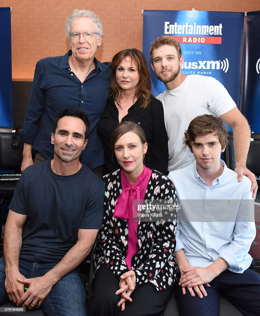 Executive producers Carlton Cuse and Kerry Ehrin and actors Max Thieriot, Nestor Carbonell, Vera Farmiga and Freddie Highmore attend SiriusXM's Entertainment Weekly Radio Channel Broadcasts From Comic-Con 2016 at Hard Rock Hotel San Diego on July 22, 2016 in San Diego, California.