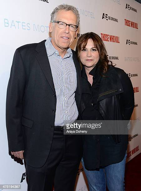 Executive producers Carlton Cuse and Kerry Ehrin attend AE's 'Bates Motel' and 'Those Who Kill' Premiere Party at Warwick on February 26 2014 in...