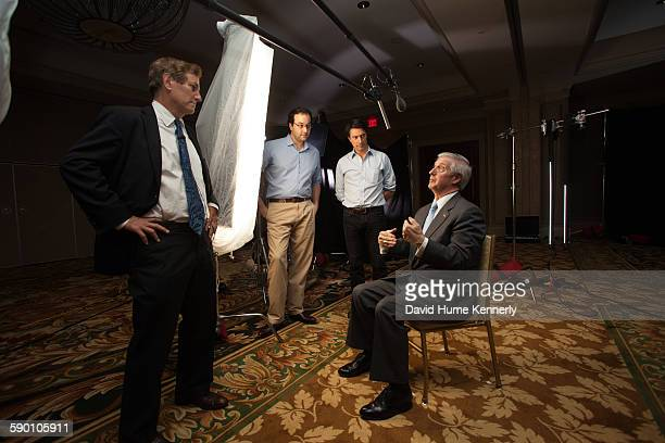 Executive producers Chris Whipple Gedeon Naudet and Jules Naudet with former White House Chief of Staff Andrew Card Card was interviewed for...