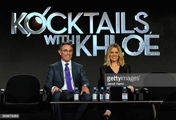 Executive producers Craig Piligian and Khloe Kardashian speaks onstage during the FYI Kocktails with Khloe panel at the AE Networks 2016 Television...