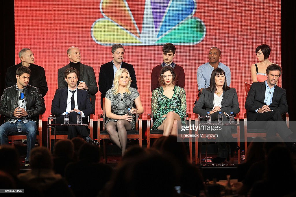 Executive Producers Craig Zadan, Neil Meron, Joshua Safran, actors Andy Mientus, Leslie Odom Jr., and Krysta Rodriguez, (Bottom L-R) actors Jeremy Jordan, Christian Borle, Megan Hilty, Katharine McPhee, Anjelica Huston, and Jack Davenport speak onstage during the 'Smash' panel discussion at the NBCUniversal portion of the 2013 Winter TCA Tour- Day 3 at the Langham Hotel on January 6, 2013 in Pasadena, California.