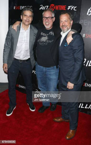 Executive producers David Levien Brian Koppelman and actor David Costabile attend Showtime's 'Billions' For Your Consideration red carpet event at...