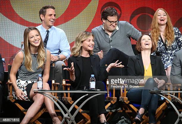 Executive producers Greg Berlanti Andrew Kreisberg and Sarah Schechter Actors Melissa Benoist Calista Flockhart Chyler Leigh and David Harewood speak...