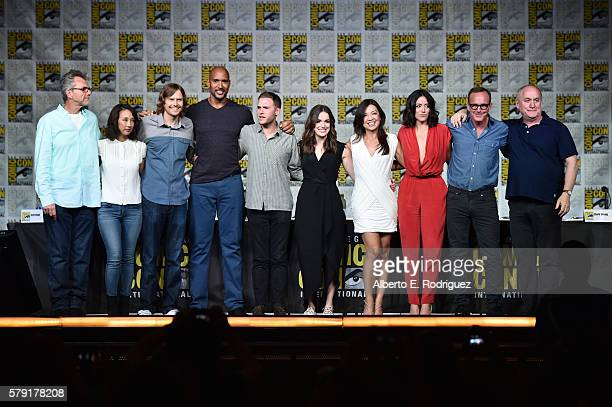 Executive producers Jeffrey Bell Maurissa Tancharoen and Jed Whedon actors Henry Simmons Iain De Caestecker Elizabeth Henstridge MingNa Wen Chloe...
