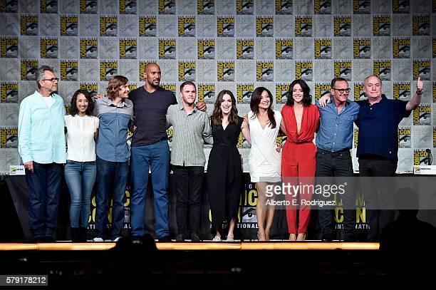 Executive producers Jeffrey Bell Maurissa Tancharoen and Jed Whedon actors Henry Simmons Iain De Caestecker Elizabeth Henstridge MingNa Wen Chloe...