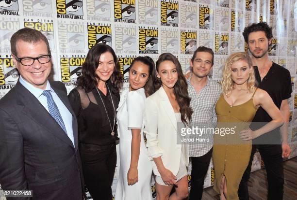 Executive producers John McNamara Sera Gamble actors Summer Bishil Stella Maeve Jason Ralph Olivia Taylor Dudley and Hale Applemanat 'The Magicians'...