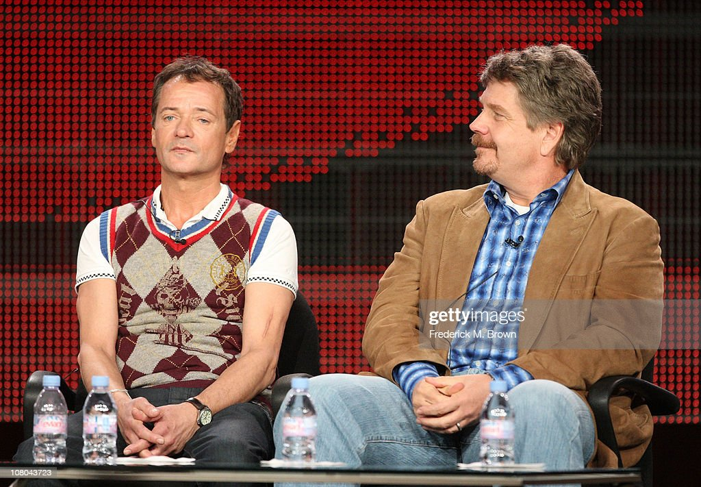Executive Producers John Wells and Paul Abbott speak during the 'Shamless' panel during the Showtime portion of the 2011 Winter TCA press tour held...