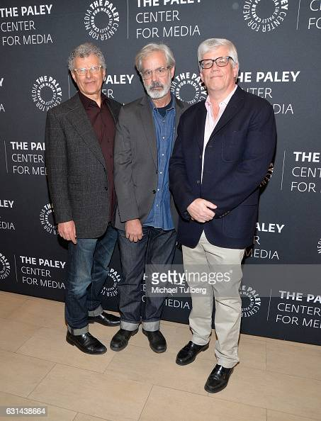 Executive Producers Jon Amiel Peter Mattei and Peter Tolan attend the PaleyLive LA premiere of season 2 of WGN America's 'Outsiders' at The Paley...