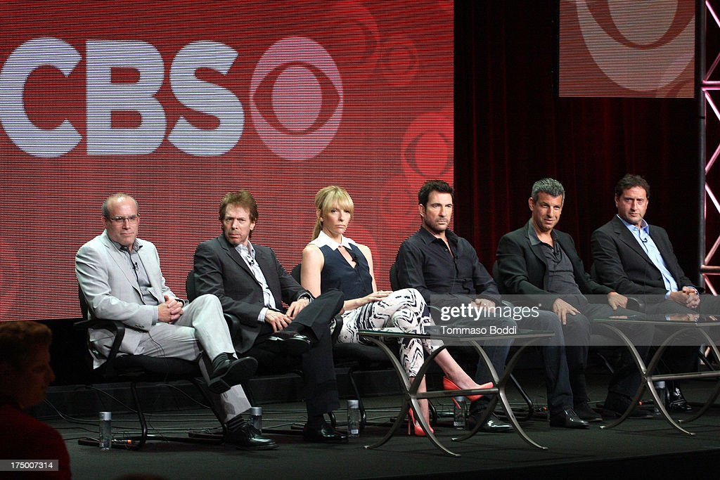 Executive producers Jonathan Littman, Jerry Bruckheimer, actors Toni Collette, Dylan McDermott, Executive producers Jeffrey Nachmanoff and Rick Eid of the TV show 'Hostages' attend the Television Critic Association's Summer Press Tour - CBS/CW/Showtime panels held at The Beverly Hilton Hotel on July 29, 2013 in Beverly Hills, California.