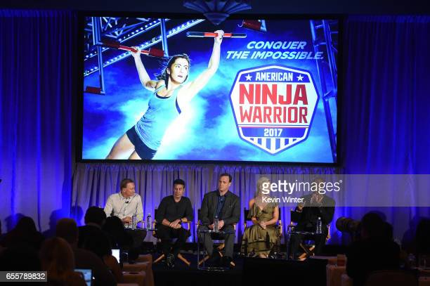 Executive producers Kent Weed Arthur Smith Cohosts Matt Iseman Kristine Leahy and Akbar Gbajabiamila of 'American Ninja Warrior' speak onstage during...