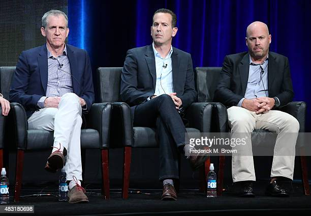 Executive producers Kevin Falls Darryl Frank and Justin Falvey speak onstage during the 'Minority Report' panel discussion at the FOX portion of the...