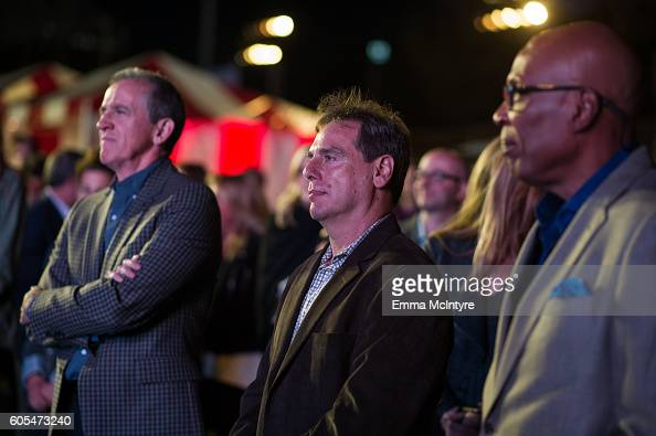 Executive producers Kevin Falls Rick Singer and Paris Barclay attend the premiere of Fox's 'Pitch' at West LA Little League Field on September 13...