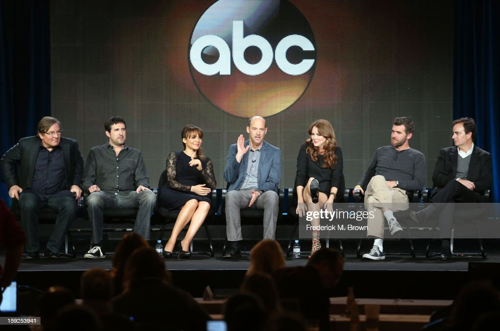 Executive Producers Lorenzo di Bonaventura and Zack Estrin, actors Carmen Ejogo, Anthony Edwards and Jacinda Barrett, Executive Producers Paul Scheuring and Dan McDermott of 'Zero Hour' speak onstage during the ABC portion of the 2013 Winter TCA Tour at Langham Hotel on January 10, 2013 in Pasadena, California.
