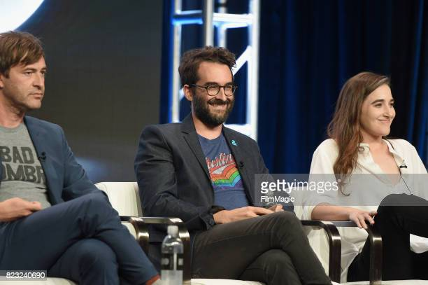Executive producers Mark Duplass Jay Duplass and director Sarah Adina Smith speak onstage during the HBO Summer TCA 2017 at The Beverly Hilton Hotel...