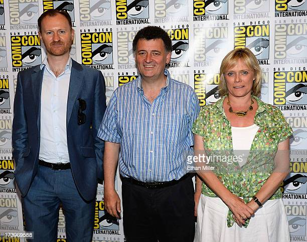 Executive producers Mark Gatiss Steven Moffat and Sue Vertue attend the 'Sherlock' press line during ComicCon International 2013 at the Hilton San...