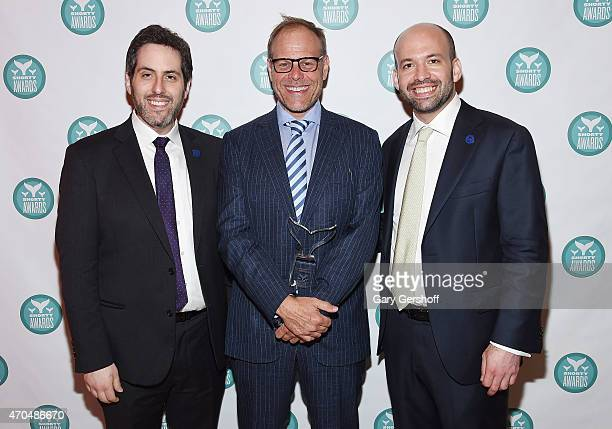 Executive Producers of the Shorty Awards Lee Semel and Greg Galant pose with Alton Brown at the The 7th Annual Shorty Awards on April 20 2015 in New...