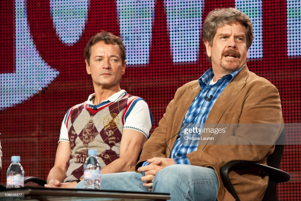 Executive producers Paul Abbott and John Wells of 'Shameless' speak at the 2011 Showtime Winter TCA Panel at The Langham Huntington Hotel and Spa on...