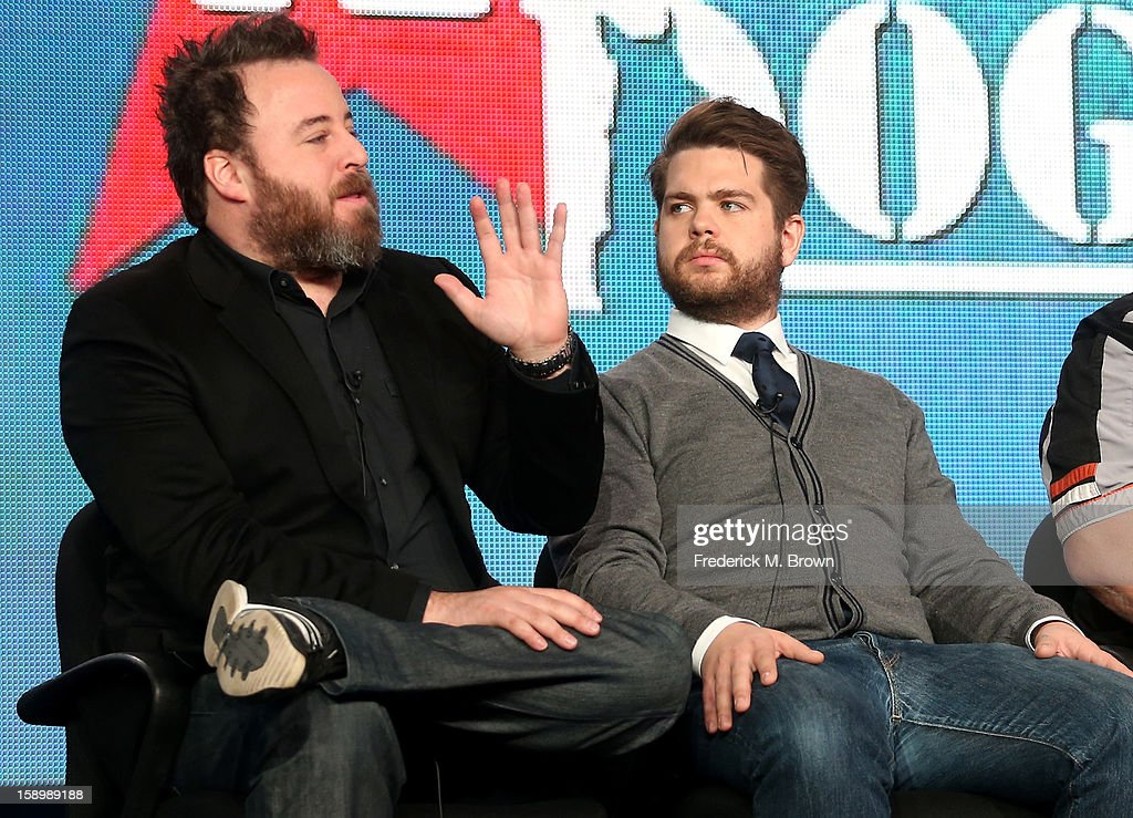 Executive Producers Rob Worsoff (L) and Jack Osbourne speak onstage during the 'Alpha Dogs' panel discussion at the National Geographic Channels portion of the 2013 Winter TCA Tour - Day 1 at Langham Hotel on January 4, 2013 in Pasadena, California.