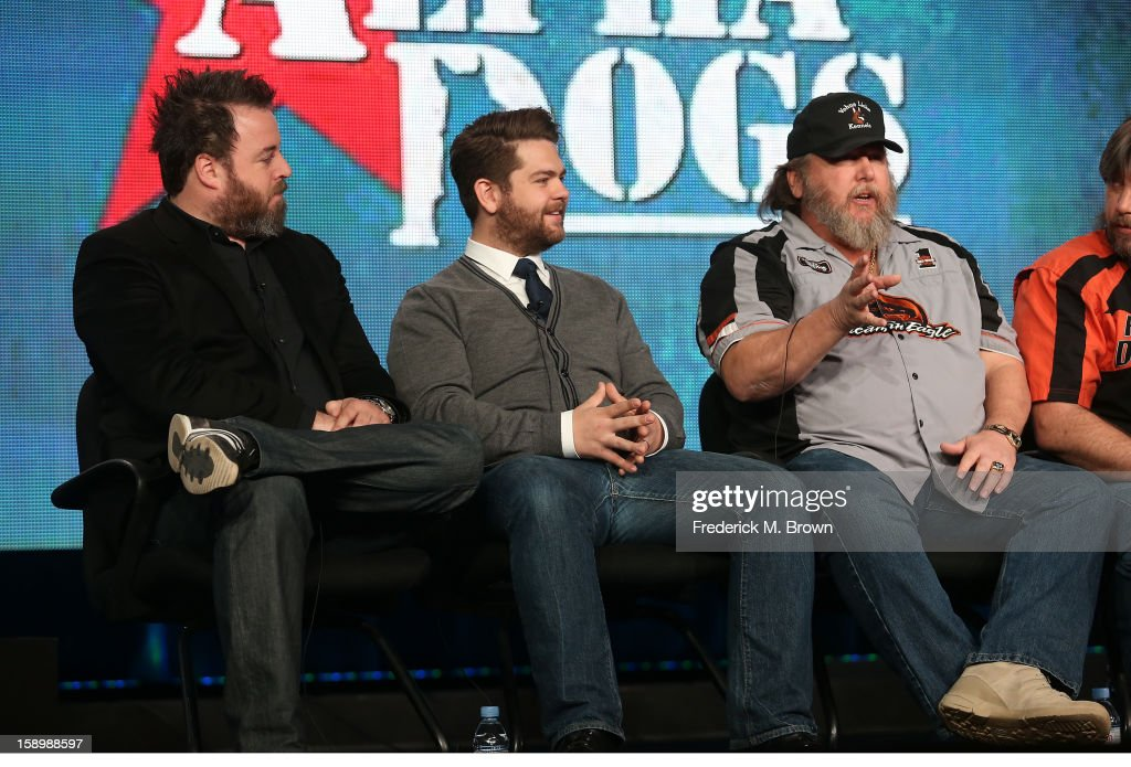 Executive Producers Rob Worsoff, Jack Osbourne, and Ken Licklider, Owner of Vohne Liche Kennels speak onstage during the 'Alpha Dogs' panel discussion at the National Geographic Channels portion of the 2013 Winter TCA Tour - Day 1 at Langham Hotel on January 4, 2013 in Pasadena, California.