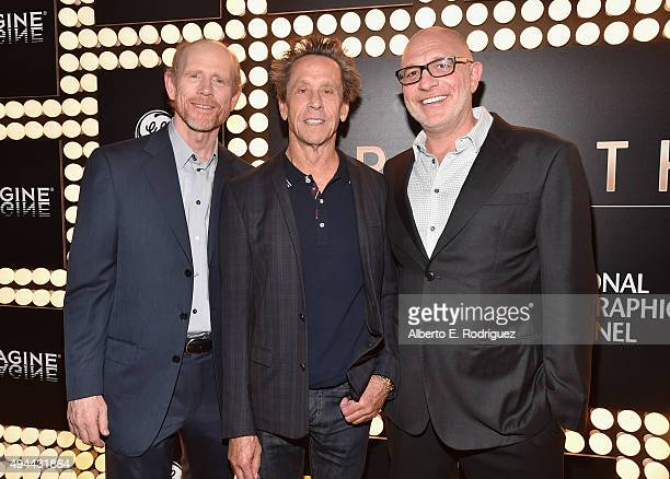 Executive Producers Ron Howard Brian Grazer and director Akiva Goldsman attend National Geographic Channel's 'Breakthrough' world premiere event at...