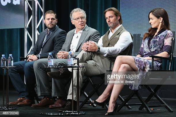 Executive producers Ryan Condal Carlton Cuse actors Josh Holloway and Sarah Wayne Callies speak onstage during the USA Networks' 'Colony' panel...