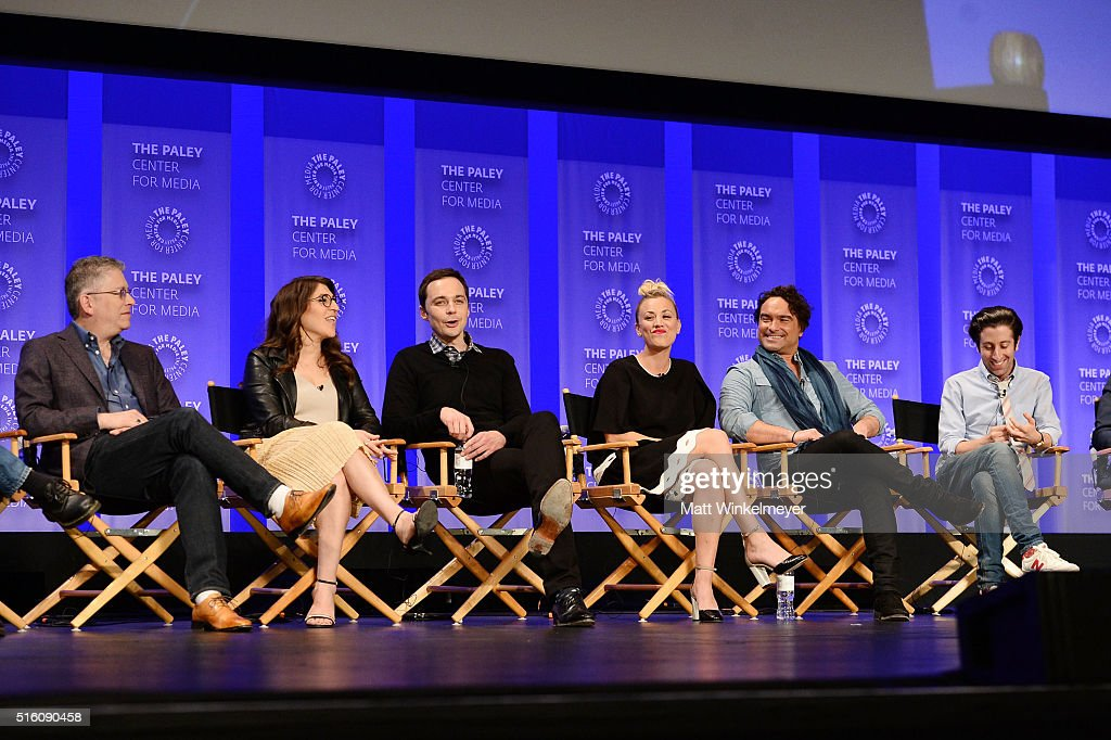 Executive producers Steven Molaro Bill Prady actors Mayim Bialik Jim Parsons Kaley Cuoco Johnny Galecki and Simon Helberg attend The Paley Center For...