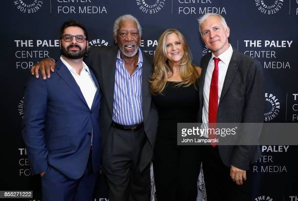 Executive producers Tim Pastore Morgan Freeman Lori McCreary and James Younger attend The Paley Center presents 'The Story Of Us' with Morgan...