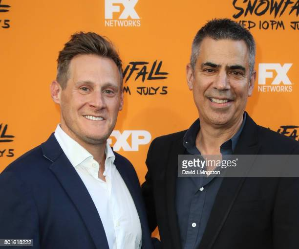 Executive producers Trevor Engelson and Michael London attend the premiere of FX's 'Snowfall' at The Theatre at Ace Hotel on June 26 2017 in Los...