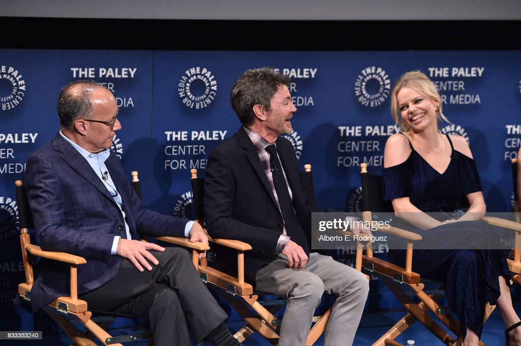 Executive producers/creators David Crane and Jeffrey Klarik and actress Mircea Monroe attend the 2017 PaleyLive LA Summer Season Premiere Screening And Conversation For Showtime's 'Episodes' at The Paley Center for Media on August 16, 2017 in Beverly Hills, California.