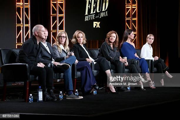 Executive producers/writers/directors Ryan Murphy and Tim Minear executive producer Dede Gardner and actresses Jessica Lange Susan Sarandon Alison...