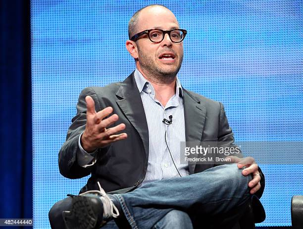 Executive producer/writer Damon Lindelof speaks onstage during the 'The Leftovers' panel discussion at the HBO portion of the 2015 Summer TCA Tour at...