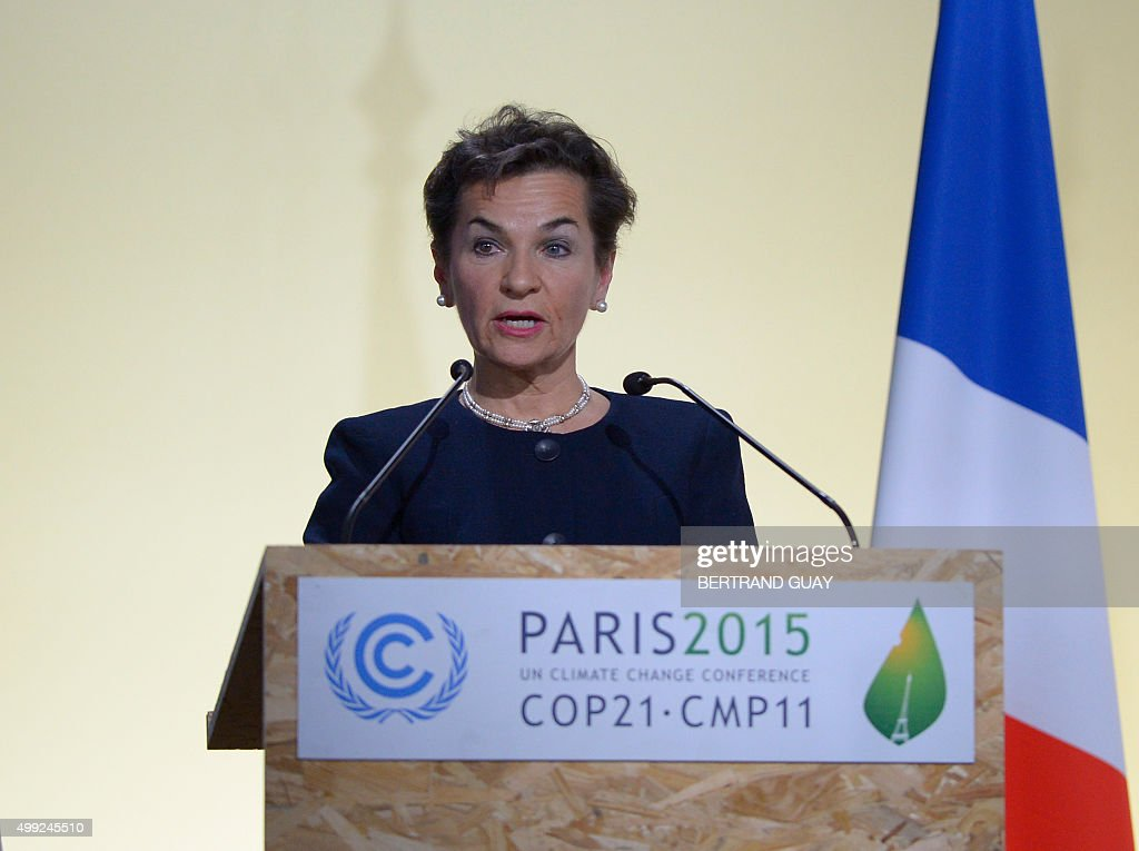 Executive Secretary of the UN Framework Convention on Climate Change Christiana Figueres delivers a speech during the opening of the 21st session of the Conference of the Parties to the United Nations Framework Convention on Climate Change (COP21 / CMP11), also known as Paris 2015, on November 30, 2015 at Le Bourget, on the outskirts of the French capital Paris, where 150 world leaders are meeting under heightened security. AFP PHOTO / BERTRAND GUAY / AFP / BERTRAND GUAY