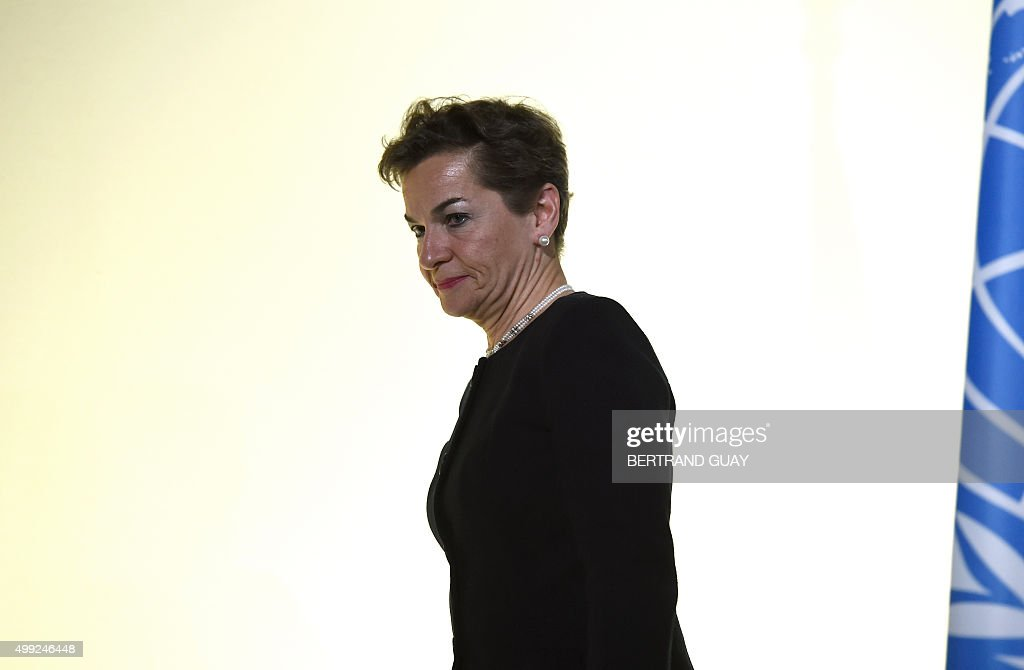Executive Secretary of the UN Framework Convention on Climate Change Christiana Figueres arrives for the opening of the 21st session of the Conference of the Parties to the United Nations Framework Convention on Climate Change (COP21 / CMP11), also known as Paris 2015, on November 30, 2015 at Le Bourget, on the outskirts of the French capital Paris, where 150 world leaders are meeting under heightened security. AFP PHOTO / BERTRAND GUAY / AFP / BERTRAND GUAY
