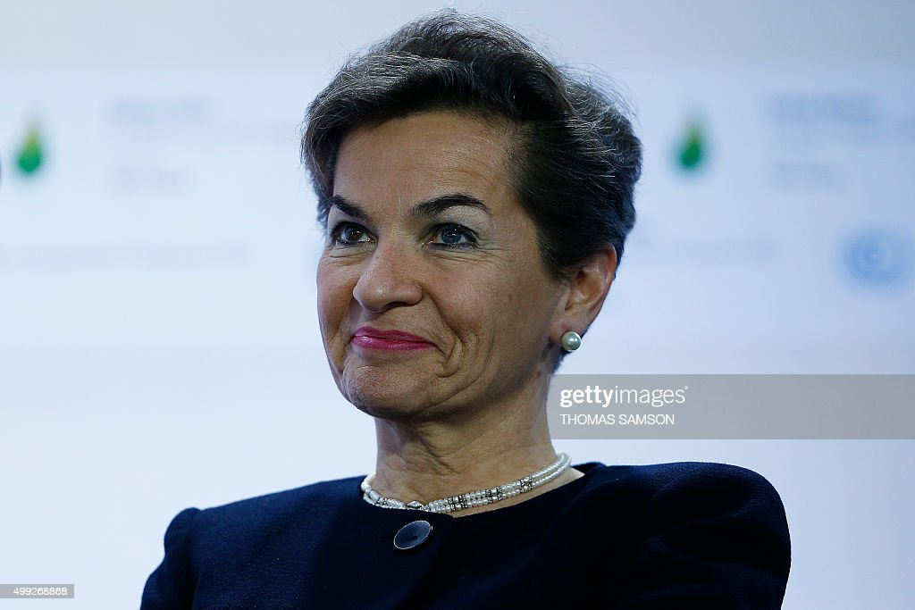 Executive Secretary of the UN Framework Convention on Climate Change <a gi-track='captionPersonalityLinkClicked' href=/galleries/search?phrase=Christiana+Figueres&family=editorial&specificpeople=7113536 ng-click='$event.stopPropagation()'>Christiana Figueres</a> attends a Fossil Fuel Subsidy Reform Communique presentation during the COP 21 United Nations conference on climate change, on November 30, 2015 in Le Bourget, on the outskirts of the French capital Paris. More than 150 world leaders are meeting under heightened security, for the 21st Session of the Conference of the Parties to the United Nations Framework Convention on Climate Change (COP21/CMP11), also known as Paris 2015 from November 30 to December 11. AFP PHOTO / THOMAS SAMSON / AFP / THOMAS SAMSON