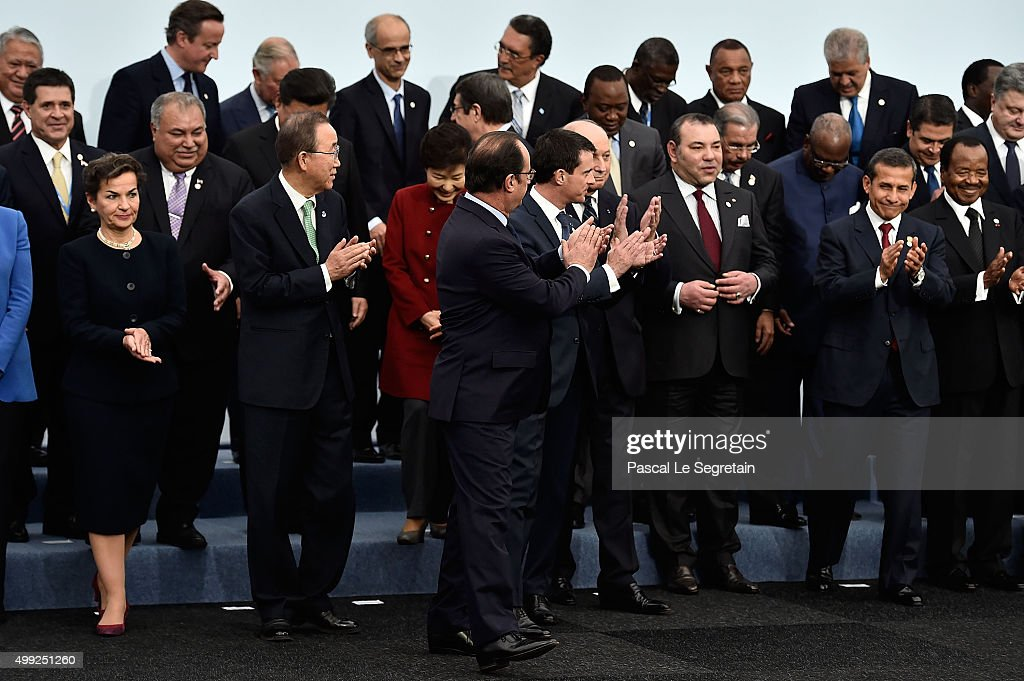 Executive Secretary of the United Nations Christiana Figueres, U.N General secretary, Banki Moon, French President Francois Hollande, French Prime Minster, Manuel Vals, French Minister Of Foreign affairs, Laurent Fabius and King Mohamed VI of Morroco attend the Family photo of the Cop 21 on November 30, 2015 in Paris, France. World leaders are meeting in Paris for the start of COP21, the two-week UN climate change summit, attempting to agree on an international deal to curb greenhouse gas emissions.