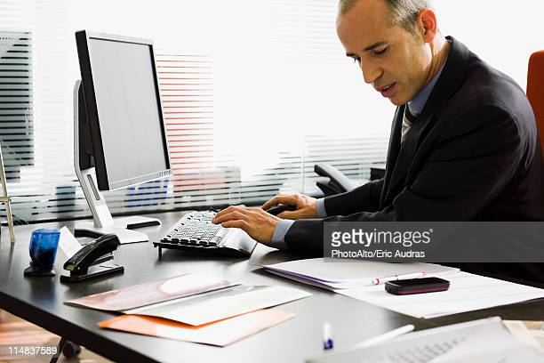 Executive using desktop computer