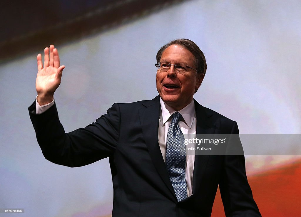 NRA executive vice president and CEO <a gi-track='captionPersonalityLinkClicked' href=/galleries/search?phrase=Wayne+LaPierre&family=editorial&specificpeople=2488494 ng-click='$event.stopPropagation()'>Wayne LaPierre</a> speaks during the 2013 NRA Annual Meeting and Exhibits at the George R. Brown Convention Center on May 3, 2013 in Houston, Texas. More than 70,000 peope are expected to attend the NRA's 3-day annual meeting that features nearly 550 exhibitors, gun trade show and a political rally. The Show runs from May 3-5.