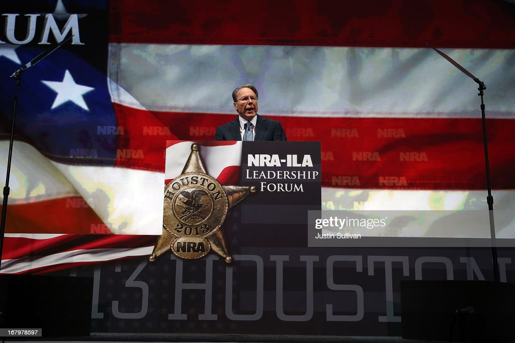 NRA executive vice president and CEO Wayne LaPierre speaks during the 2013 NRA Annual Meeting and Exhibits at the George R. Brown Convention Center on May 3, 2013 in Houston, Texas. More than 70,000 peope are expected to attend the NRA's 3-day annual meeting that features nearly 550 exhibitors, gun trade show and a political rally. The Show runs from May 3-5.