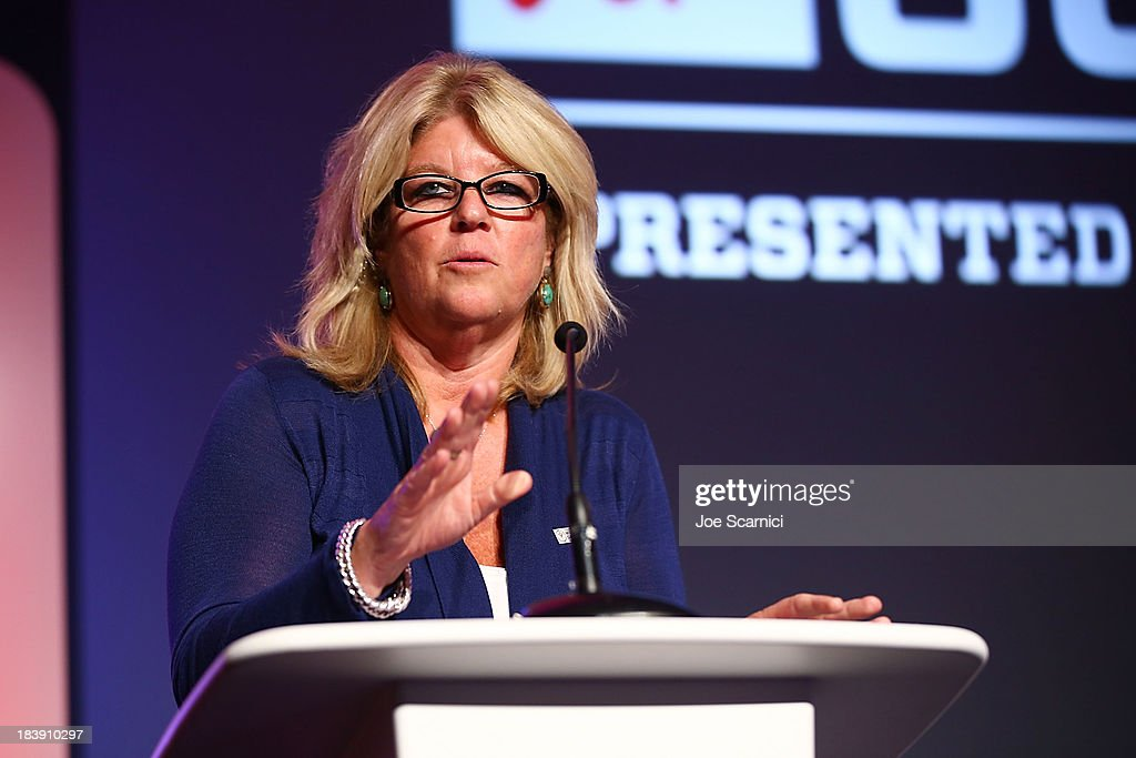 Executive Vice President and Chief Financial Officer ESPN Christine Driessen speaks onstage at the 2013 espnW Women Sports Summit at St Regis Monarch...