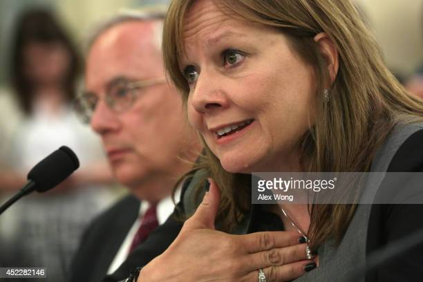 Executive vice president and general counsel at the General Motors Company Michael Millikin and CEO of the General Motors Company Mary Barra testify...